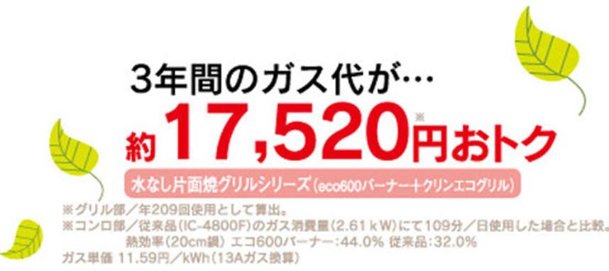 3年間のガス代が、約17,520円お得